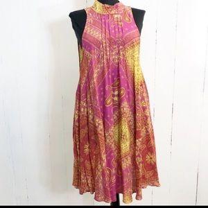 Free People Paisley Sleeveless Open Back Dress